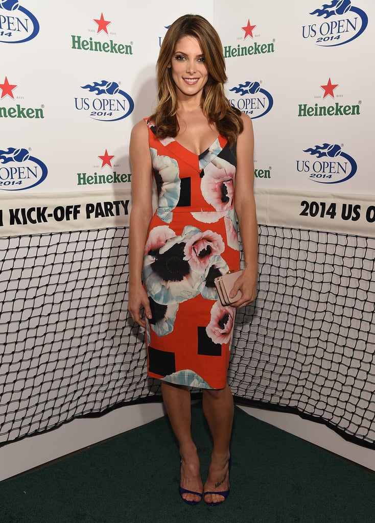 Ashley Greene went floral for a US Open kick off party in NYC on Thursday.