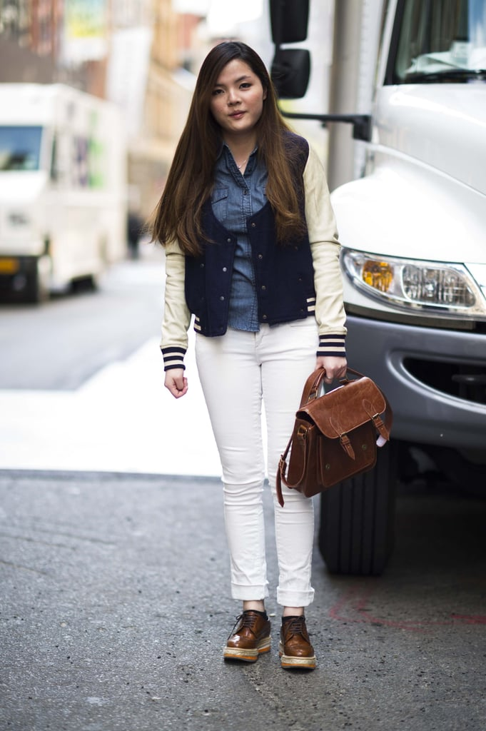Complete white skinnies with a preppy complement — a varsity jacket is just the thing. Source: Adam Katz Sinding
