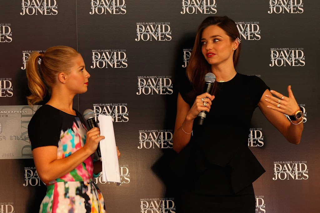 Miranda Kerr chatted with the host of the event.