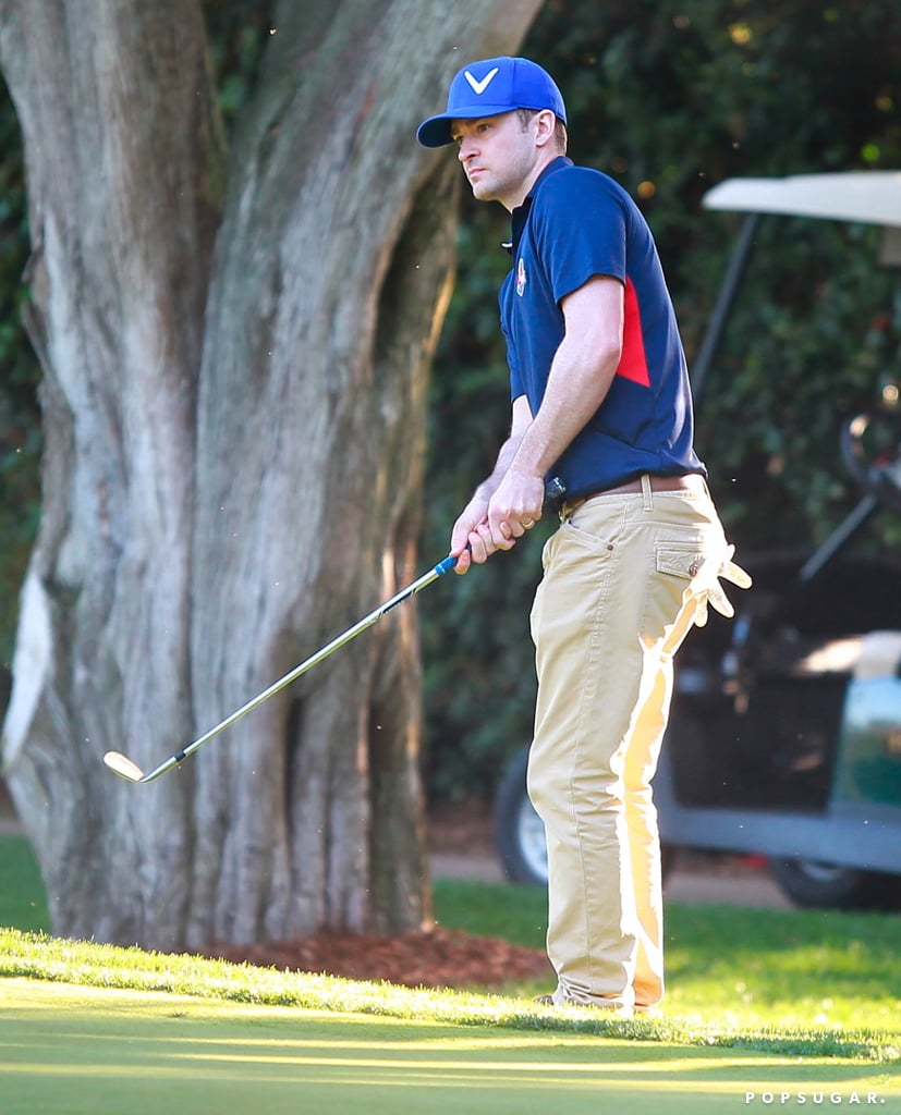 Justin Timberlake hit a shot at the golf course in LA.