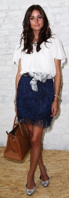 Olivia Palermo in Fringe Skirt and Hermes Bag at Markus Lupfer Presentation
