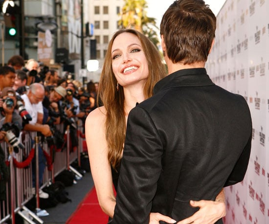 Slide Photo of Angelina Jolie Hugging Brad Pitt at the Inglourious Basterds Premiere