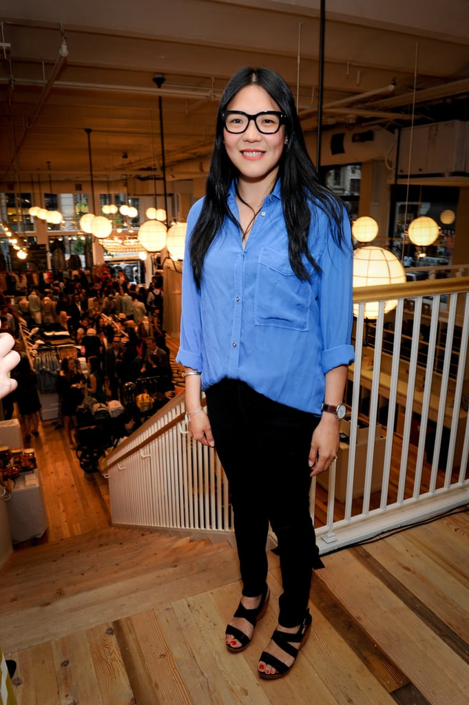 Madewell's Kin Ying Lee working the geek-chic glasses trend.
