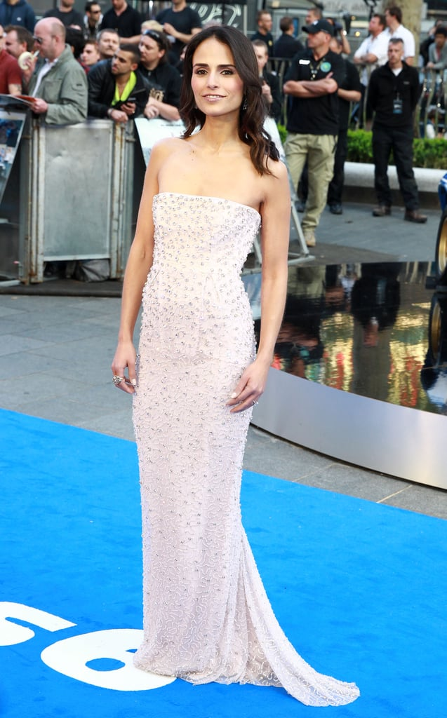 Jordana Brewster glittered in Jenny Packham at the UK premiere of Fast & Furious 6.