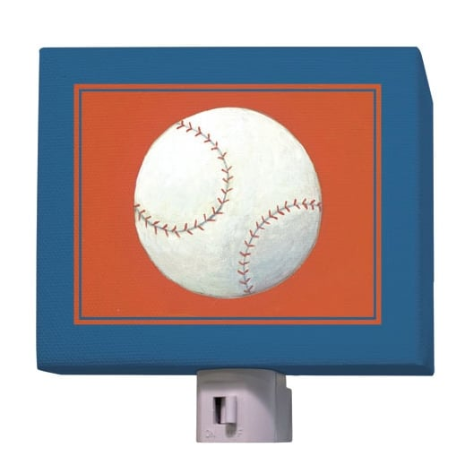 For a subtly sporty look, give your tot this baseball night-light ($25).