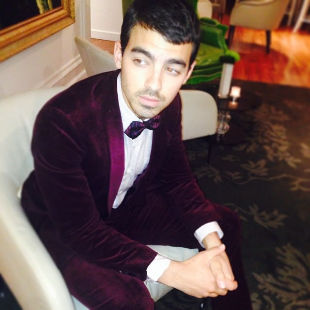 Joe Jonas looked dapper in a maroon velvet tuxedo. Source: Instagram user joejonas