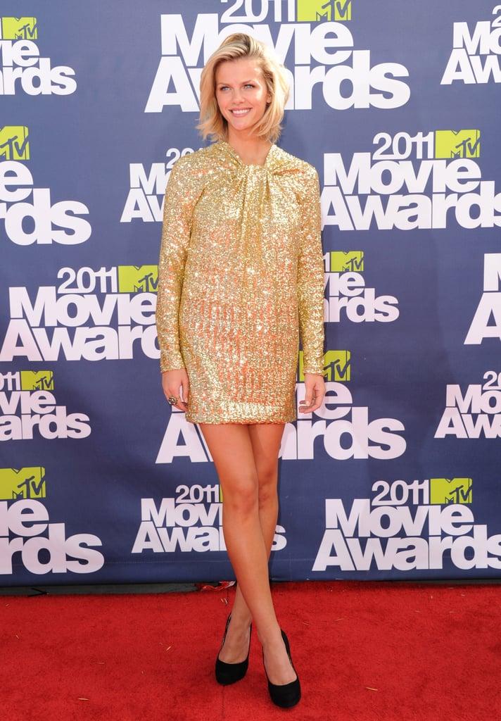 Brooklyn Decker in Gold No. 21 Dress at 2011 MTV Movie Awards