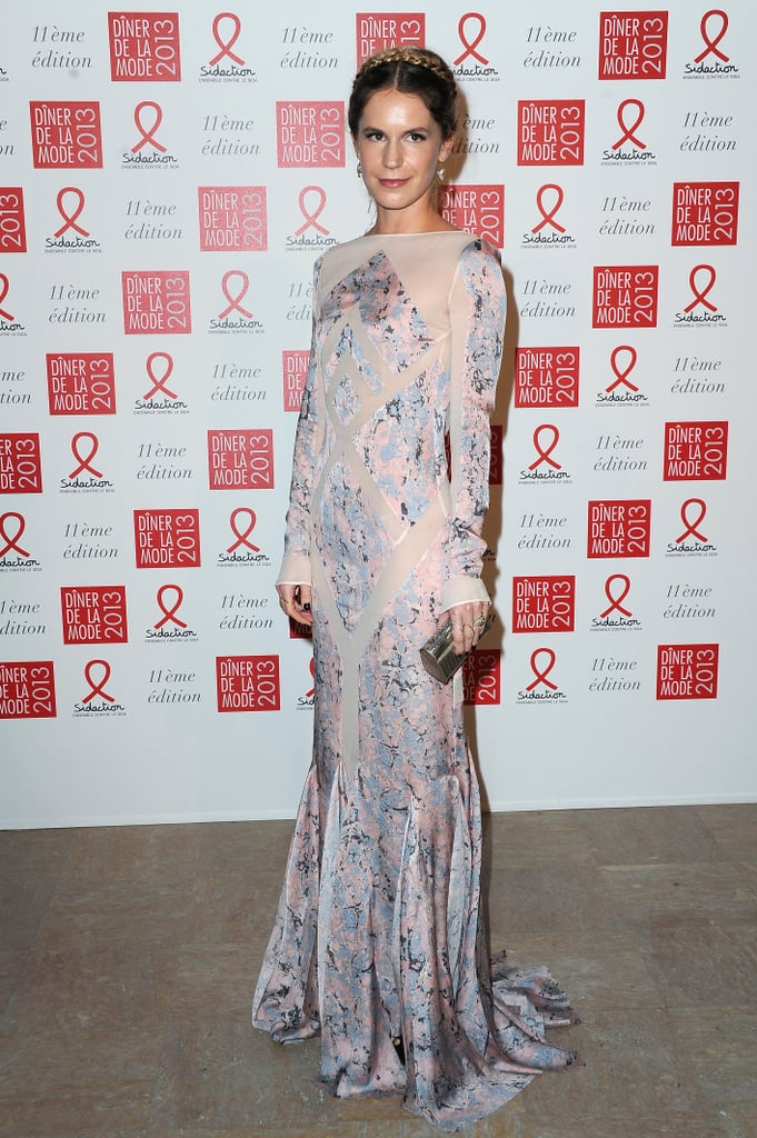 Eugenie Niarchos looked princess-like in a floor-skimming embroidered gown, providing an extra dose of regalness via a braided updo, at the Sidaction Gala.
