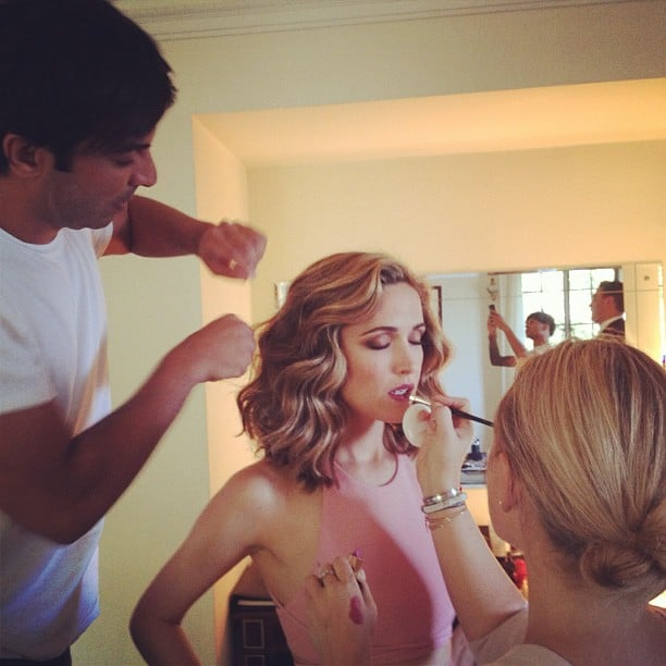 Rose Byrne's glam squad put the finishing touches on her Emmys look. Source: Instagram user instylemagazine