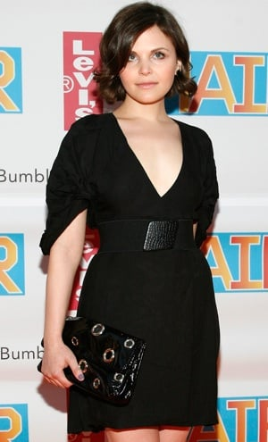 Photo of Ginnifer Goodwin in New York City in a LBD Holding a Black Stella McCartney Grommet Clutch