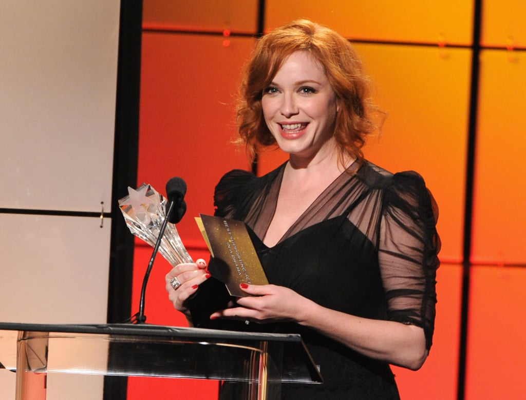 Christina Hendricks looked happy to bring home an award from the Critics' Choice Television Awards in LA.