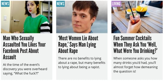 This Satire Website Devoted Its Entire Homepage to Rape Culture, And It Was Awesome