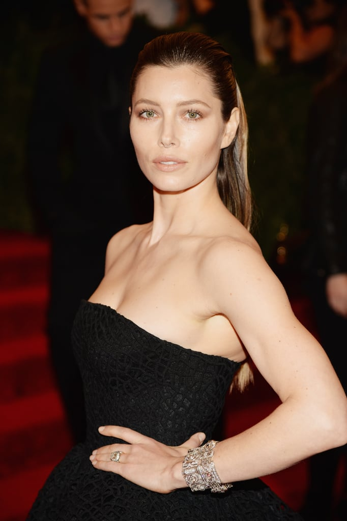 Jessica Biel adorned her Giambattista Valli confection with Fred Leighton jewels — and a nose ring!