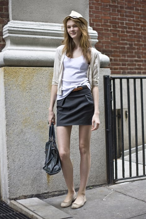 Easy separates like a white t-shirt and a black cotton skirt are warm-weather must haves. Photo courtesy of Phil Oh