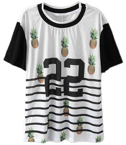 Romwe Pineapple-Print Jersey Shirt