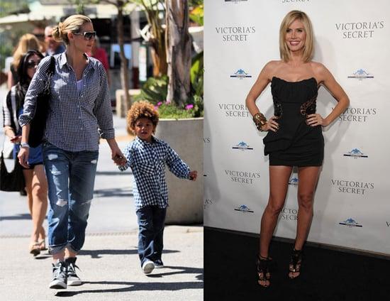 Heidi Klum in Sneakers and Black Louis Vuitton Dress