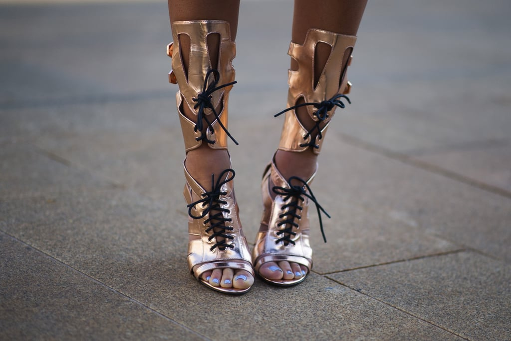 Aimee Song laced up a pair of Rebecca Minkoff's gladiator sandals.