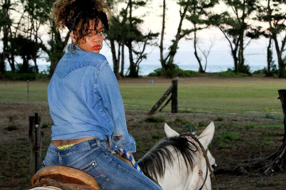 Rihanna went for a horseback ride.