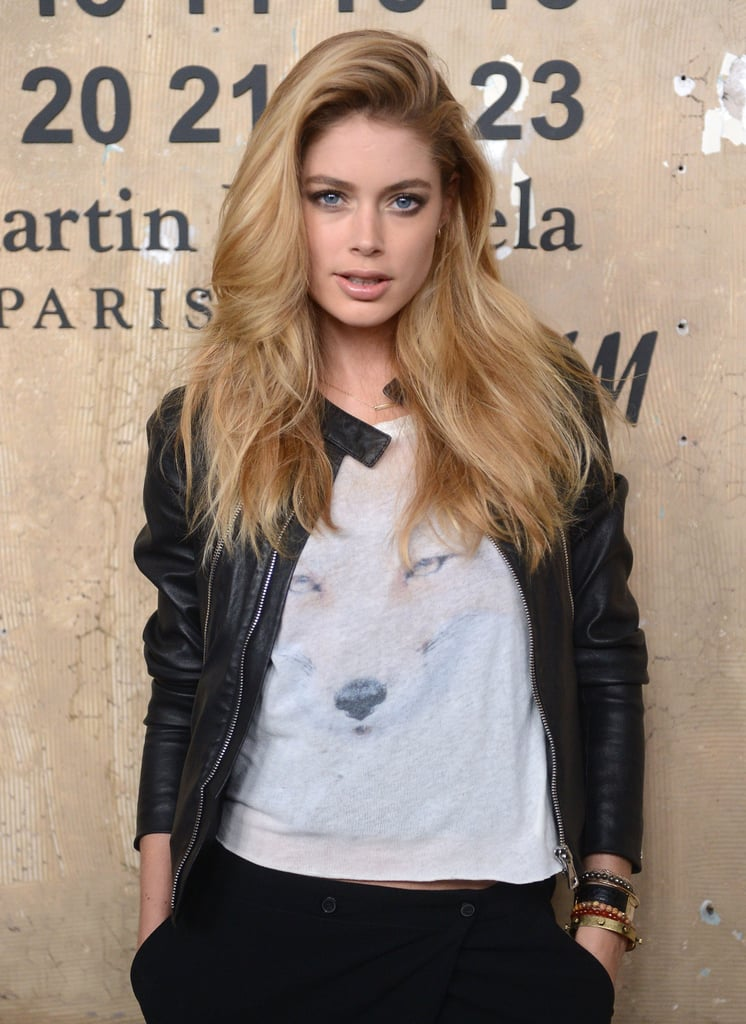 Doutzen Kroes chose a printed top to attend the launch of Maison Martin Margiela for H&M in NYC.