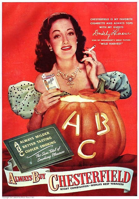 A good homemaker knows that you can use your jack-o'-lantern as a cigarette lighter!