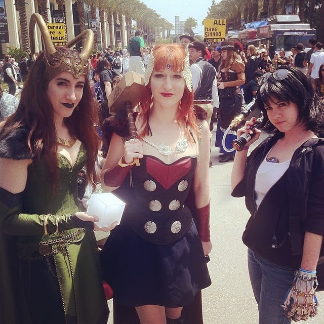 Friends who cosplay together, stay together. Loki, Thor, and Stark team up at WonderCon 2014.