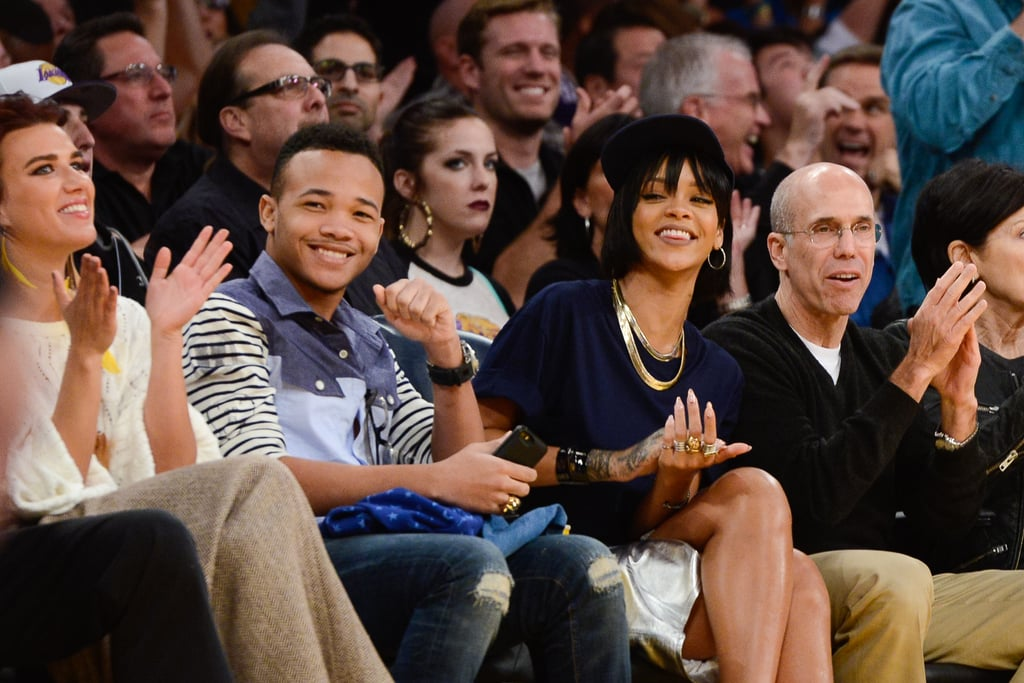 Rihanna brought her brother, Rajad Fenty, to see the LA Lakers battle it out with the Portland Trail Blazers in December 2013.