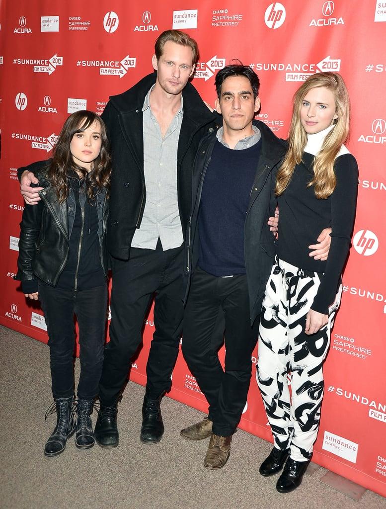 Ellen Page, Alexander Skarsgard, Zal Batmanglij, and Brit Marling posed together at the Sundance premiere of The East.