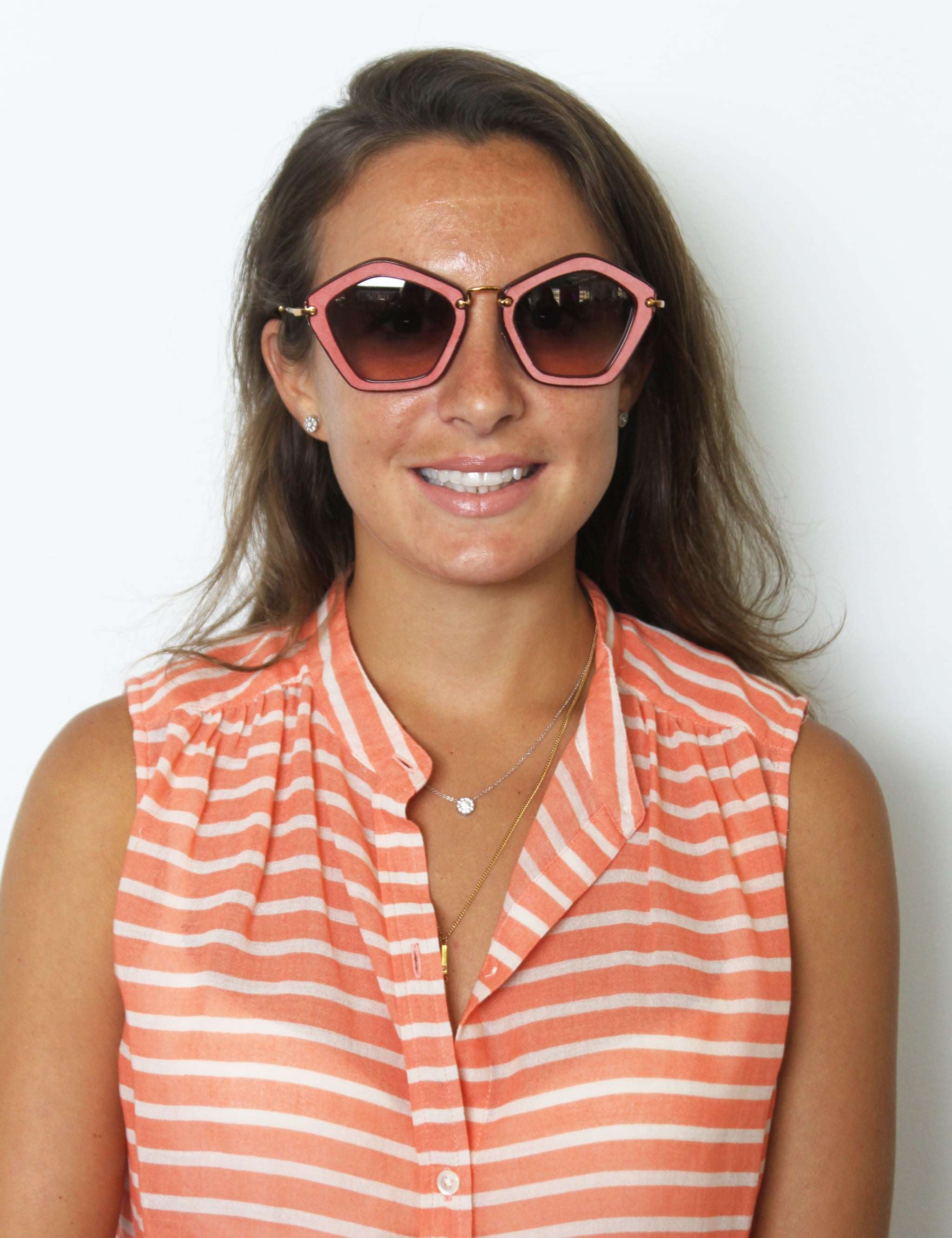 Not for the faint of heart, this geometric Miu Miu option is covered in petal-pink suede (similar style: Miu Miu 'Culte Collection' 57 mm Geometric Sunglasses, $340). To balance the color, texture, and shape, go for a neutral lip color like BareMinerals Marvelous Moxie Lipstick in Be Free ($18).