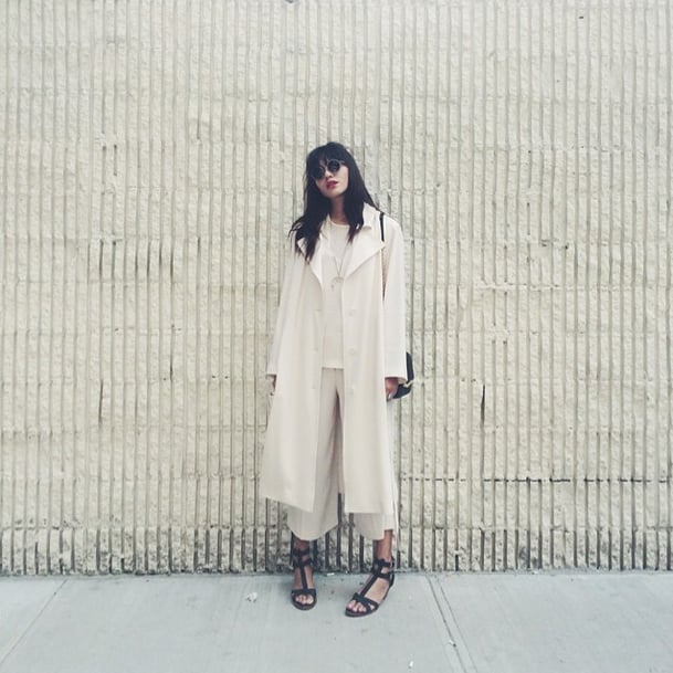 If you're going the all-white route, layering oversize structured pieces is a bold move that'll turn heads. Source: Instagram user natalieoffduty