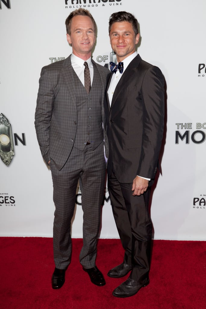 Neil Patrick Harris and David Burtka wore suits to The Book of Mormon.