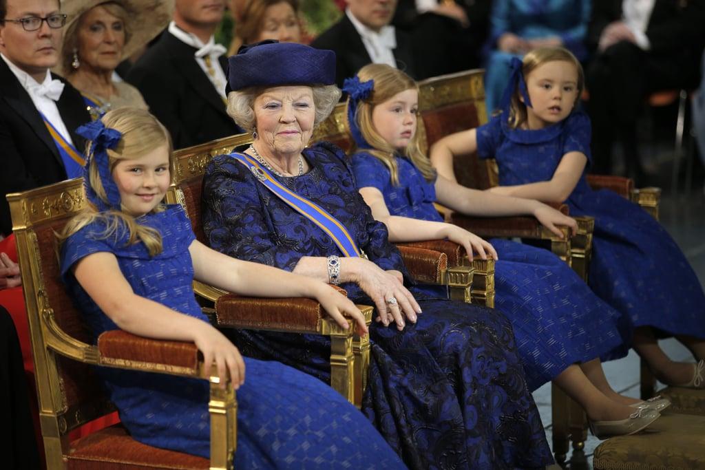 The ladies looked regal in blue.