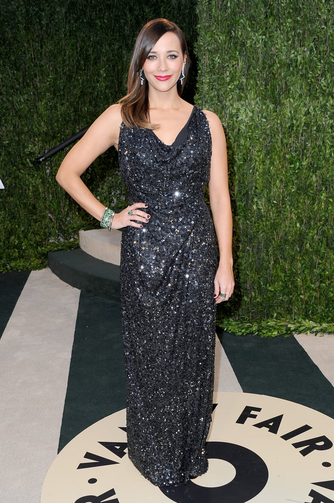 Rashida Jones arrived at the Vanity Fair Oscar Party on Sunday night.