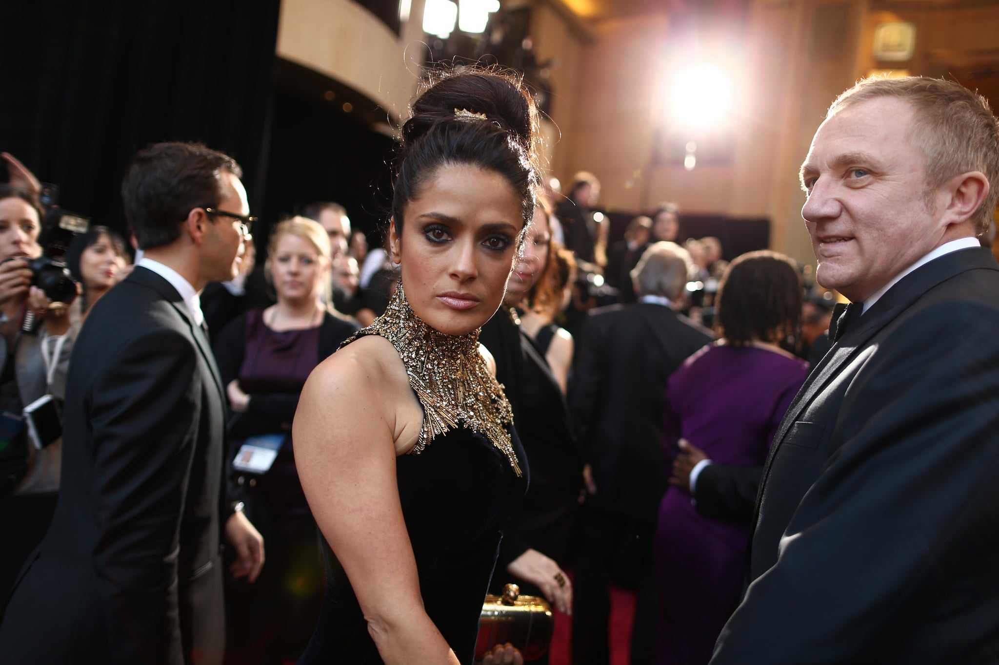 Salma Hayek was surprised to find a photographer behind her.