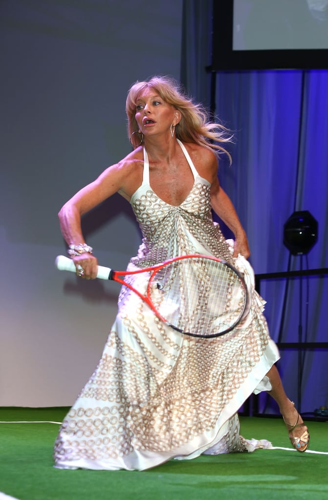 Goldie Hawn showed off her tennis skills against her daughter Kate Hudson.