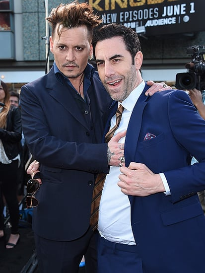 Frisky Fellas: Johnny Depp and Sacha Baron Cohen Goof Off at Alice Through the Looking Glass Premiere