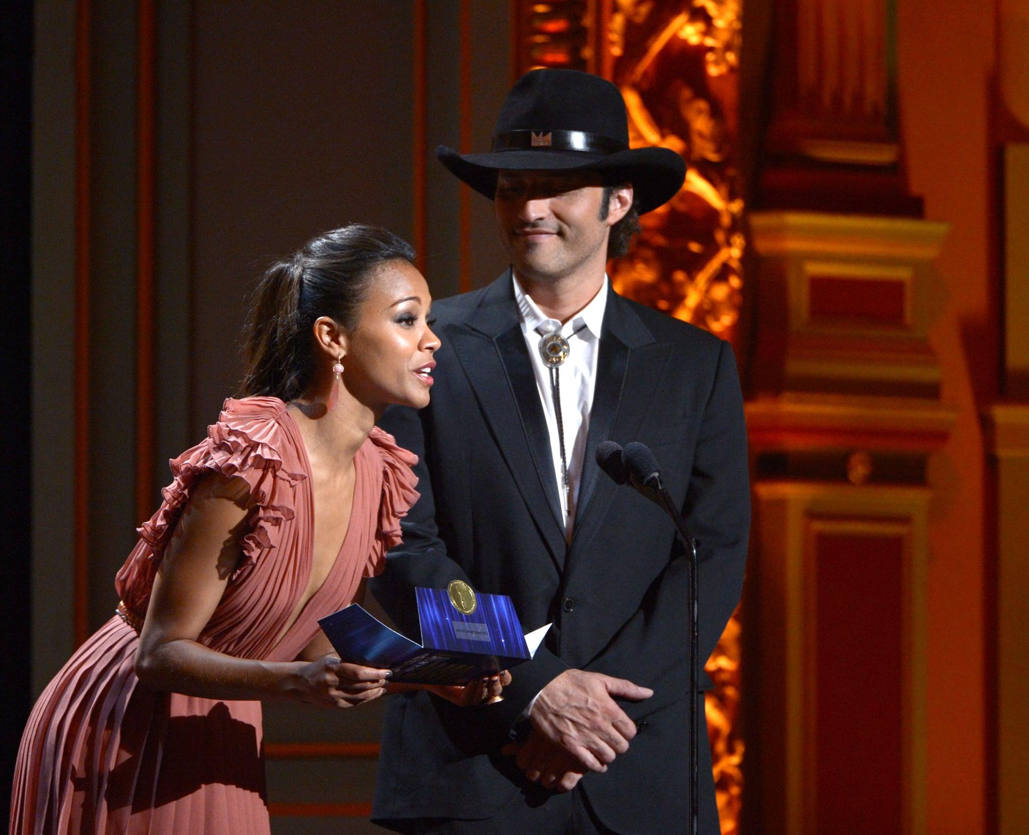 Zoe Saldana presented an award with Robert Rodriguez.