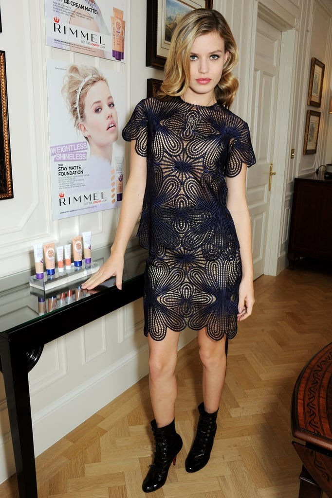Georgia May Jagger looked lovely in a lacy navy dress at the Rimmel London 180 Years of Cool press event.
