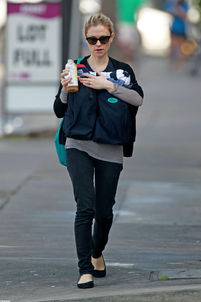 Anna Paquin took a walk with her 3-month-old twins in LA.