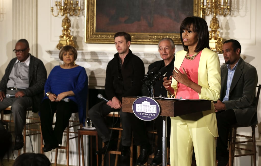 Michelle Obama took a very bright approach, thanks to a lemon-yellow Preen suit from the label's Spring '12 collection, in early April.