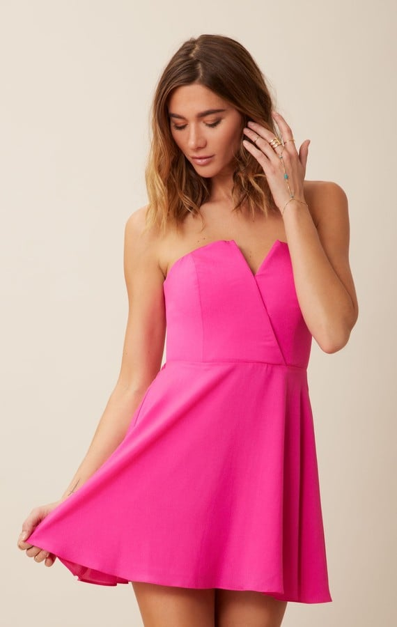 Naven bright-hot-pink strapless dress ($175)