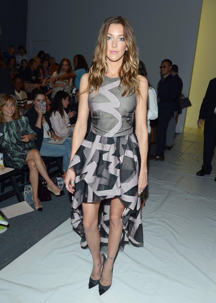 Katie Cassidy chose a high-low printed Lela Rose dress for the designer's Spring 2014 show.