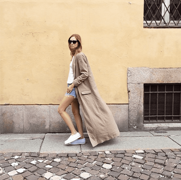 Try throwing on the casual cutoff-and-tee look that's been your go-to for the past three months, and then finish with a long, chic trench. Source: Instagram user chiaraferragni