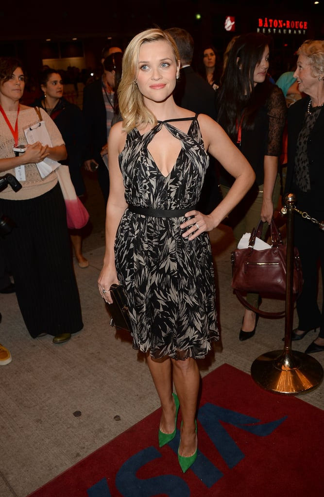 Reese Witherspoon punched up her black-and-white Jason Wu dress with bold green heels and tons of Tiffany & Co. diamonds.