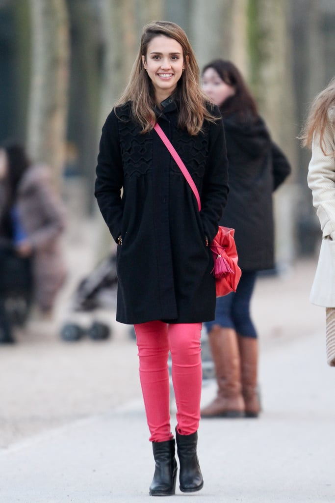 Jessica was all smiles in coordinating hot-pink denim and a leather Loewe shoulder bag in Paris.