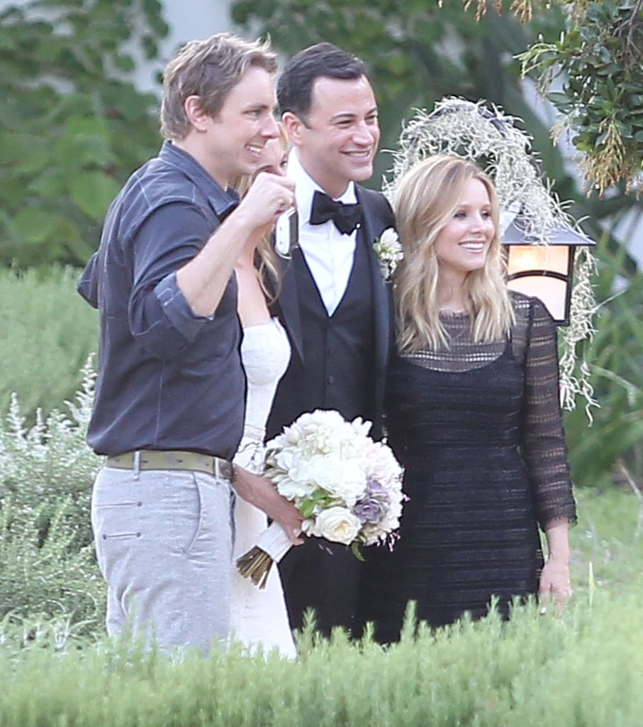 Kristen Bell and Dax Shepard posed with Jimmy Kimmel at his July 2013 wedding in Ojai, CA.