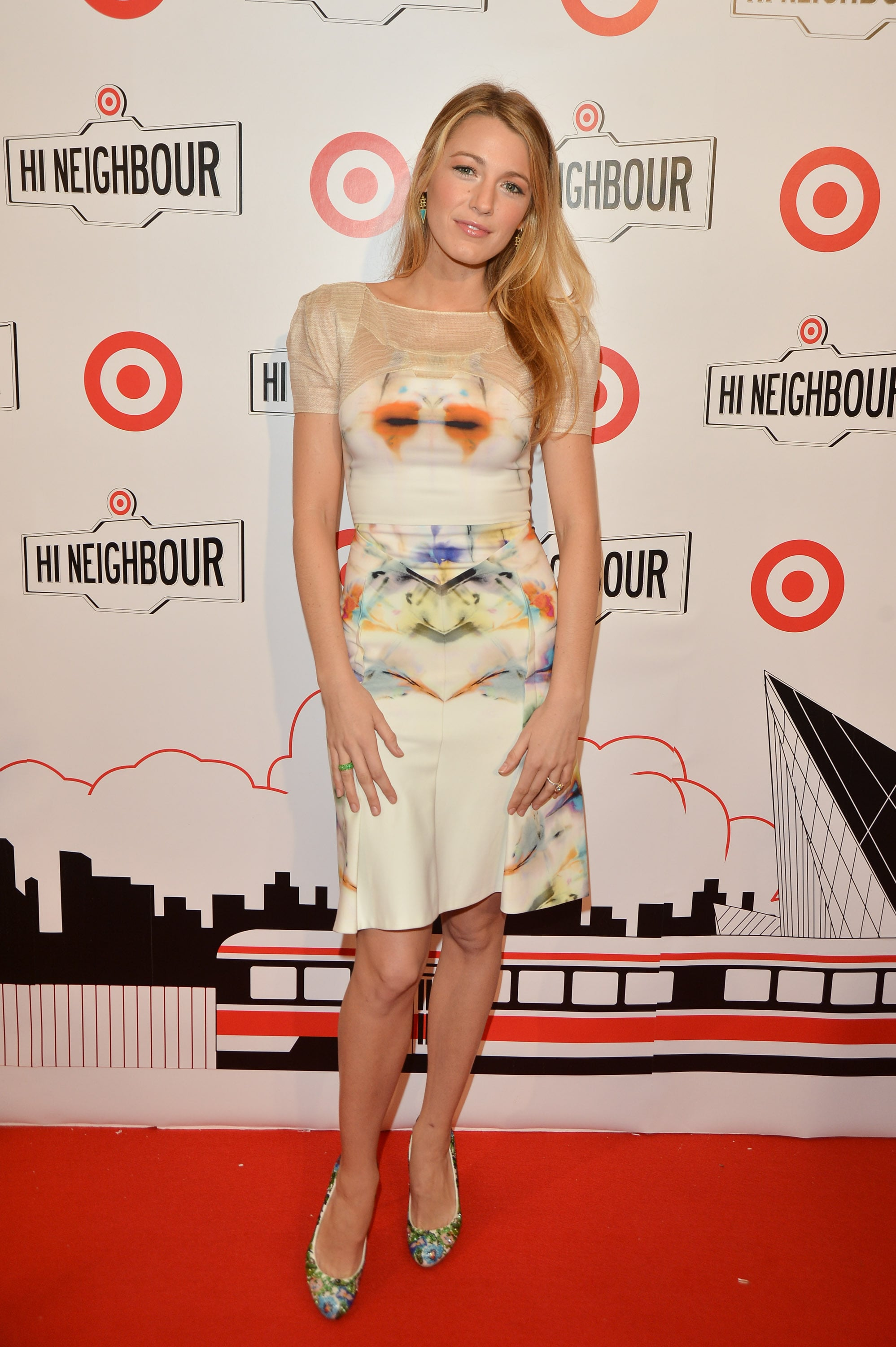 Blake Lively brought a fresh pop of Spring color to the Target opening in Canada with a printed Roland Mouret dress.
