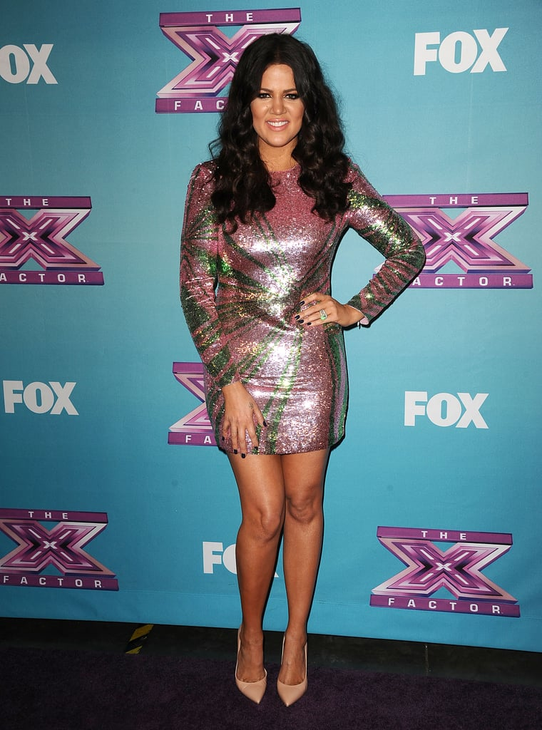 Khloé Kardashian posed in a sequined dress.