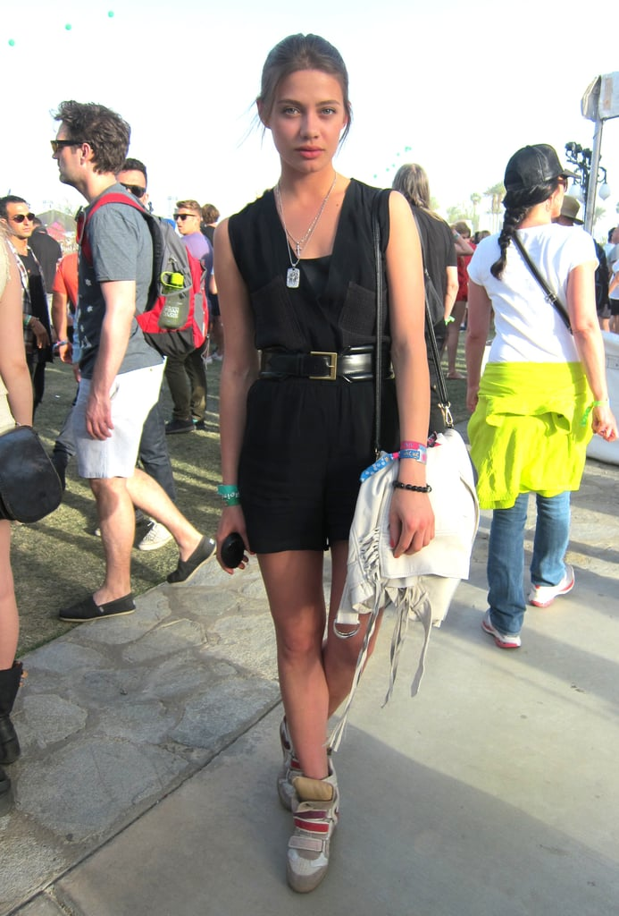 A little black dress and fringed bag received a sporty tilt thanks to Isabel Marant wedge sneakers. Source: Chi Diem Chau