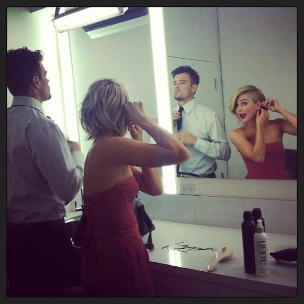 Josh Duhamel and Julianne Hough got ready together for the Toronto premiere of Safe Haven. Source: Instagram user juleshough