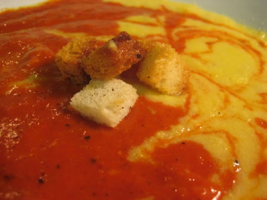 Soup's On: Corn and Roasted Red Pepper Rainbow Soup